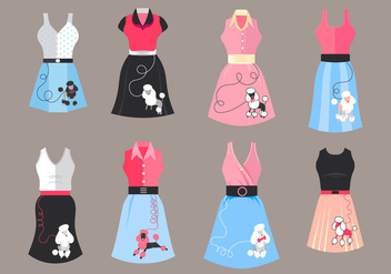 Poodle Skirt Costume Vectors - Free vector #441059