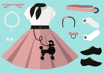50s Poodle Skirt Outfit Set Free Vector - Free vector #441129