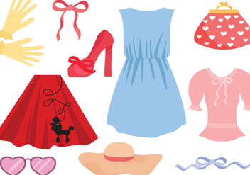 Free Retro Women Clothes Vectors - бесплатный vector #441199