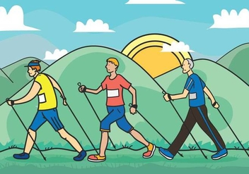Nordic walking vector illustration - бесплатный vector #441209