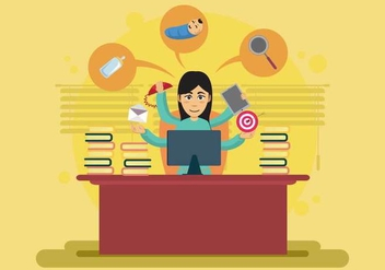 Woman Working Too Much in the Office Illustration - vector gratuit #441309