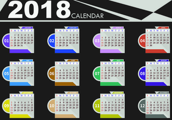 Design Template Of Desk Calendar 2018 - vector #441529 gratis