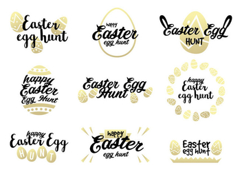 Golden Easter Egg Hunt Vectors - vector gratuit #441659