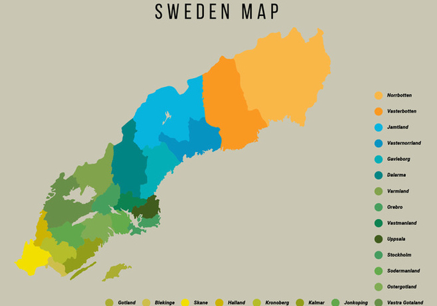 Sweden Map Vector Illustration - Free vector #441739