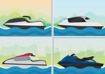 Sporty Jet Ski Illustration - бесплатный vector #441789