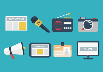Free Press Media Vector Icon Collection - vector #441819 gratis