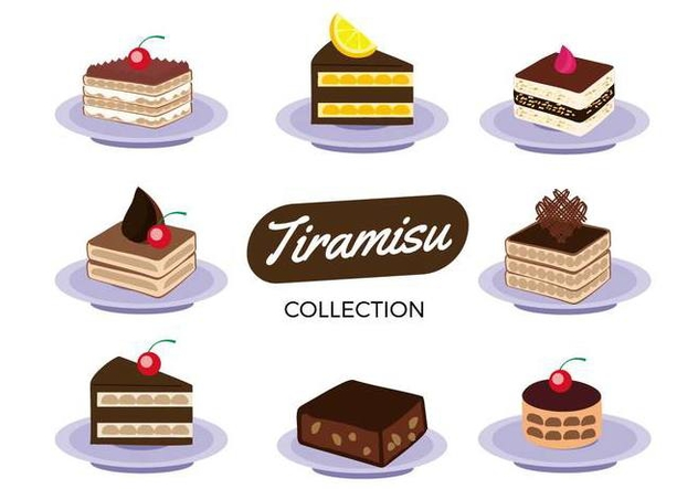 Free Tiramisu Cake Collection Vector - Free vector #441839