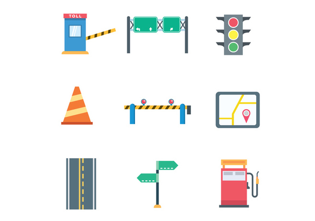 Colorful Traffic Icons - Free vector #441899