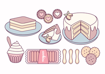 Vector Tiramisu and Sweets Illustration - vector gratuit #441929