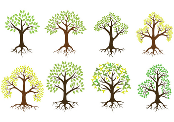 Tree With Roots Vector Icons - vector #441969 gratis