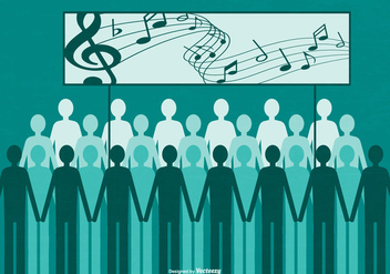 Flat Style Group of People Singing - vector gratuit #442229