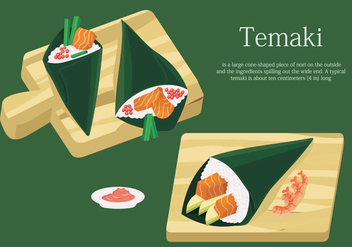 Temaki Sushi On Table Japanese Food Vector Illustration - Kostenloses vector #442269