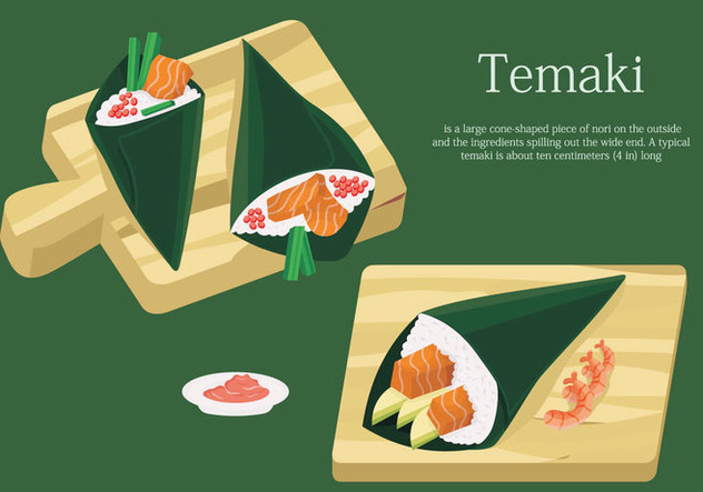 Temaki Sushi On Table Japanese Food Vector Illustration - Free vector #442269