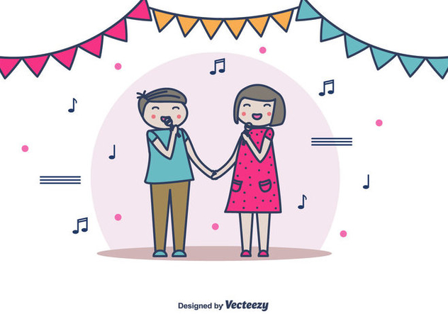 Couple Singing Vector - Free vector #442309