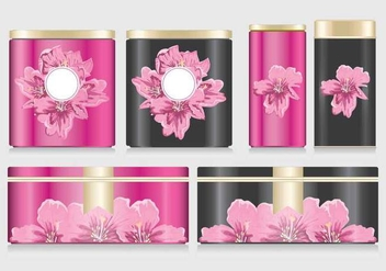 Flowers on Tin Box Mockup Vector - Kostenloses vector #442329
