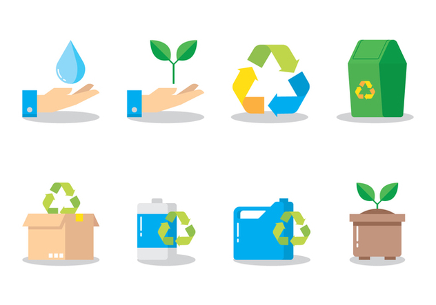 Recycling Flat Icon - бесплатный vector #442349