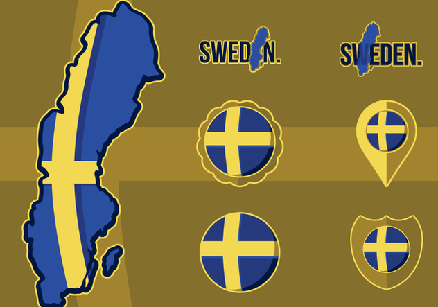 Flag Map Of Sweden - vector gratuit #442419