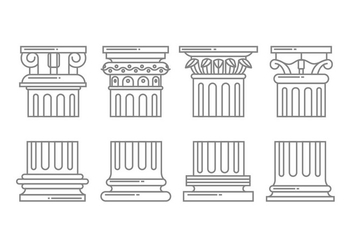 Roman column icons - vector gratuit #442429