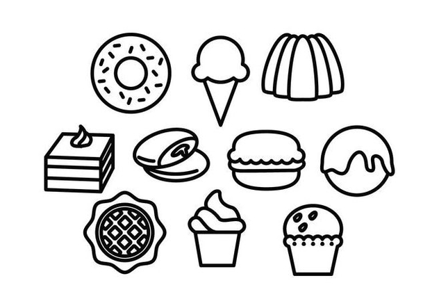 Free Sweet Food Line Icon Vector - Free vector #442439