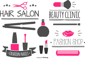 Beauty Labels and Elements Collection - vector gratuit #442479