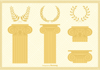 Corinthian Capital Columns And Wreaths - Free vector #442489