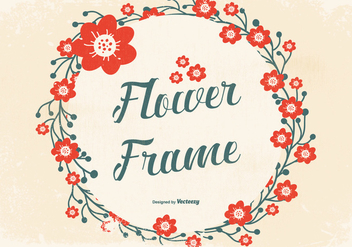 Grunge Flower Frame Background - Free vector #442509