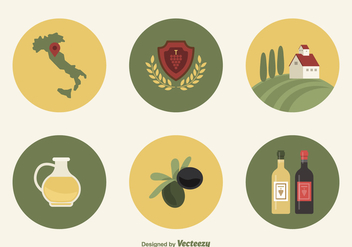 Flat Wine And Olive Icons From Tuscany Italy - Free vector #442519