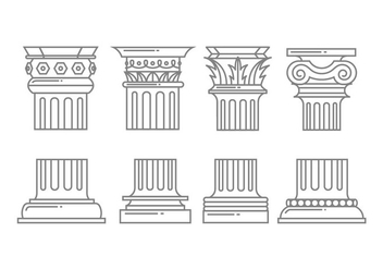 Roman column icons - vector #442529 gratis