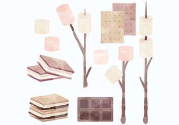 Vector Watercolor S'mores Collection - бесплатный vector #442599