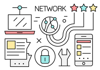 Free Linear Global Networking Vector Icons - бесплатный vector #442629