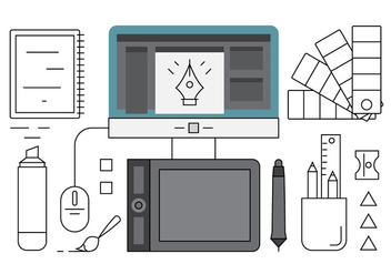 Linear Graphic Designer Tools - vector #442649 gratis