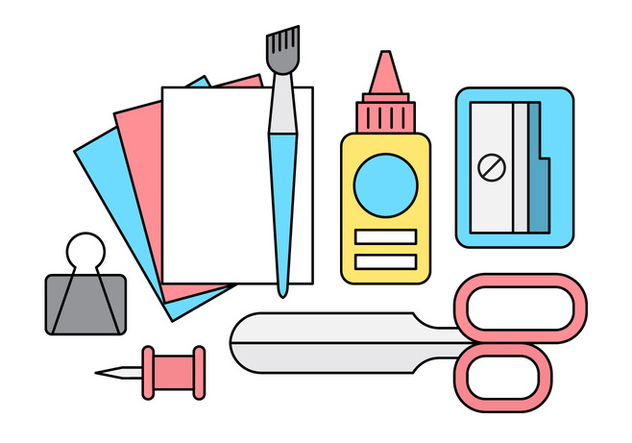 Free Linear School Supplies - Free vector #442679