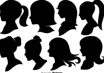 Woman Profile Silhouettes - Vector Illustration - Free vector #442709