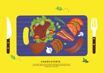 Charcuterie Ingredient Meat Flat Vector Illustration - vector gratuit #442749
