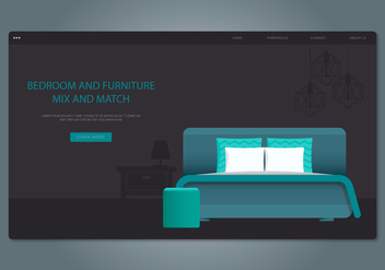 Teal Headboard Bedroom and Furniture Vector - Free vector #442759