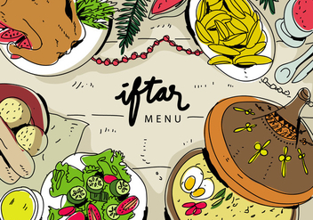 Iftar Ramadhan Menu Food On Traditional Tajine Vector Illustration - бесплатный vector #442769