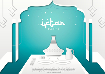 Iftar Party Tajine Background Template Vector - vector #442799 gratis