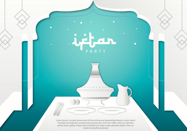 Iftar Party Tajine Background Template Vector - Free vector #442799