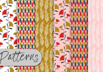 Colorful Floral Pattern Set - Kostenloses vector #442989