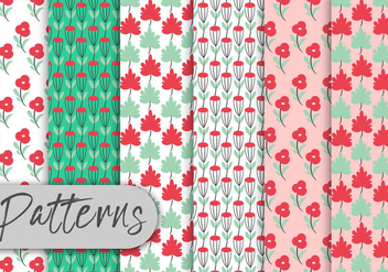 Colorful Roses Pattern Set - Kostenloses vector #442999