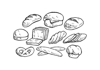 Hand Drawn Bread Vector Set Illustration - vector gratuit #443039