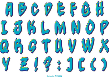 Blue Grafitti Style Alphabet Collection - Free vector #443139