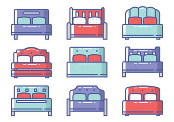 Bed Icon Set - vector #443209 gratis