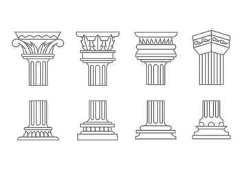 Roman column icons - vector gratuit #443289