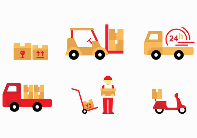 Flat Sticker Movers Vectors - vector gratuit #443369