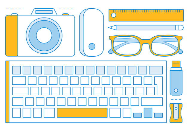 Free Linear Office Tools Elements - vector gratuit #443419