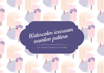 Vector Watercolor Ice Cream Seamless Pattern - vector gratuit #443429