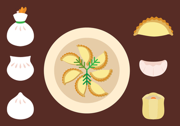 Flat Dumplings Icon Set - Free vector #443479