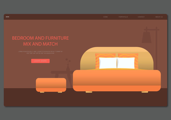 Modern Orange Headboard Bedroom and Furniture Vector - Free vector #443519