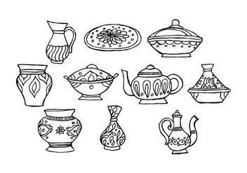 Free Oriental Muslim Dishes Crockery Vector - бесплатный vector #443539